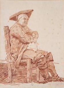 Homme assis avec tricorne et bottes dit Le Postillon.