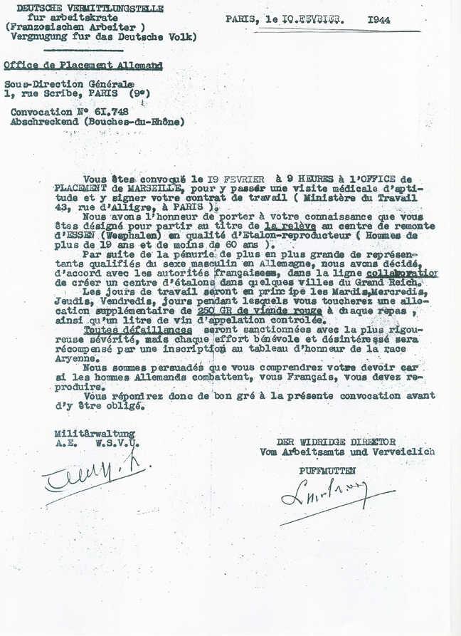 "Métier ""Etalon"" - Incroyable mais vrai en 1944 !!!"