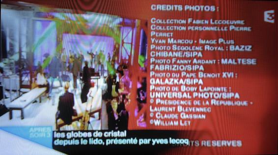 Générique de l'émission et crédits photos.