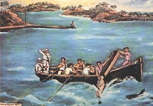 Mouillage d'un bagnard aux îles du Salut par Francis Lagrange