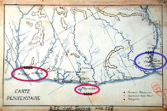 Carte de la Guyane en 1892
